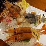 串遊海鮮 かいり - 濃厚海老刺し三種盛 (ボタン海老、天使の海老、大赤海老)