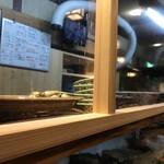 郷土料理 大衆割烹 ほづみ亭 - カウンタの向こうに大皿料理が並びます。