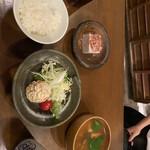 138873978 - 黒豆で作った豆腐 醤油、オリーブオイルをかけて                       オカラサラダ ゴマドレッシング、和風ドレッシング                       なめことお揚げの味噌汁