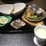 まつさき - 料理写真:柚子酒 銀むつ柚庵焼 鯖寿司 胡麻豆腐 毛蟹菊名お浸し 岩魚甘露煮