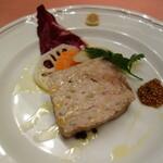 138930534 - 豚肉とレバーのテリーヌ浅蜊とポロ葱のペペロンチーノスパゲッティ