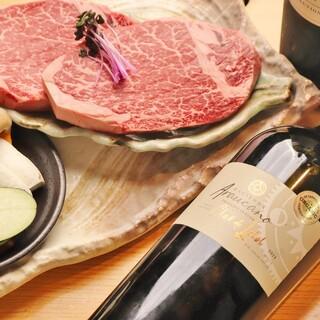 専属ソムリエ厳選ワインと上質肉の極上マリアージュを楽しんで。