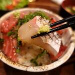 米心 - マグロのう天の漬け丼セット 500円(税込) ご飯大盛り無料