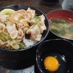 Densetsunosutadonya - ミニすた丼(味噌汁+生玉子付)530円税込 全景