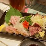 豚娘 - 2012.7 刺し盛ハーフ(700円)タンタタキ、ハツタタキ、生ガツ、ガツタタキ