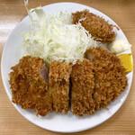 とんかつ山家 - ・ロースカツ定食(大) 970円/税込 ・カキフライ 160円/税込