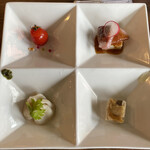 中華バルSAISAI。 - 前菜  ミニトマトリキュールマリネ、       小籠包パクチーソース、       福井県産ハマチの中華的カルパッチョ、       きのこのゼリー寄せ。