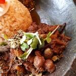 kyuuyamutei - ひよこ豆と枝豆の五香炒めのせ ゴボウ出汁の中華風ポークキーマ