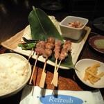ちょぼいち鶏鶏もだん - ランチの丹波地鶏焼鳥定食(600円)