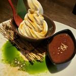 高田豆腐店 - 豆乳ソフトクリームぜんざい仕立(こちらは誕生日仕様)