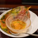 鳥田中 - 2020.10 黒さつま鶏と丸鶏の冷製鶏スープ 北海道アカウニ
