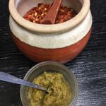 牛もつ鍋 川端 - 柚子胡椒 ( ´θ`) 唐辛子 でより好みに