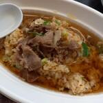 猪肉・鹿肉 梅本商店 - 猪チャーハン スープかけ