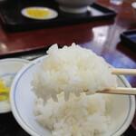 手打ちラーメン 英 - ご当地のお米を炊くのでしょうか?ご飯も美味しいですね。