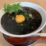 佐藤製麺所 - 料理写真:真っ黒!ラー油が浮いてる くるみも少し