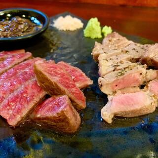 【和牛&あぐー豚の食べ比べ】島和牛を様々な調理法でいただく。