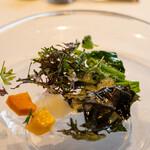 ウシマル - 2020.10 自家菜園の野菜サラダ 大豆ソースで
