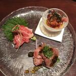 139221065 - 近江牛 生食3種盛り。