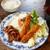 はすね  - 料理写真:エビフライ+生姜焼き 定食 ¥900