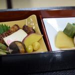 大本山 高尾山 薬王院 - 鰻の蒲焼もどき、栗や銀杏などと、デザート