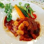 Satoyamakafetasaburousansou - 白ゆりポークのガーリックソテー 季節の野菜添え
