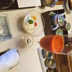 懐石 宿 扇屋 - 食前 野菜ジュース                                 水菓子 季節のフルーツ