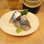 立飲みいこい - 2012.7 〆鯖(130円)撮影前に山葵つけてしまいました