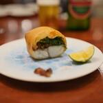 139318375 - 真鯛とオカヒジキとかきのき茸の春巻き