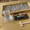 酒彩蕎麦 初代 - 料理写真:板そばに天むす。そしてミネラルウォーター(ひやおろし 千代鶴)