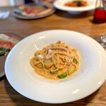 イゾラ ブル - マルタデッラハムとズッキーニ,トマトクリームソースのスパゲッティ