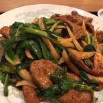 中華料理 豊楽園 - ニラレバセットのメイン ちょっと辛いです