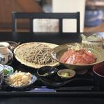 天草蕎麦処 苓州屋 - 天草産漬け黒まぐろのだしかけ丼¥1,800 並盛そばセット¥750