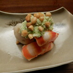 Kiyama - 小芋,車海老のずんだ豆のせ