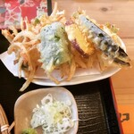 そばいち - 天ぷら(なす、さつま芋、ピーマン、かき揚げ×2)