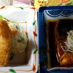 魚や 旬 - 魚や 銀座店 タラ(メルルーサ?)フライ と 鯖の味噌煮