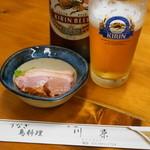 川栄 - 2012.7 お通し(計算上は200円)合鴨スモーク