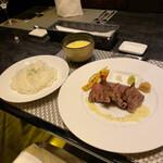 zensekikanzenkoshitsutesshindainingu - 極国産サーロインステーキ、ご飯、スープ