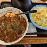 松屋 - 牛ステーキ丼デカ盛り洋風ガーリックソース生野菜セット