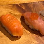 安兵衛寿し - 鮭とサーモン食べ比べ