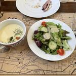 139697798 - 紅あずまのスープとサラダ