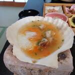 旅館 柳の湯 - ホタテの味噌貝焼