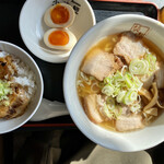 喜多方ラーメン 坂内 小法師 - 炙り焼豚ご飯セット@980円(税込)
