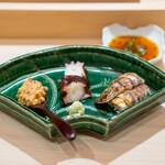 鮨 崚 - あん肝、西瓜の奈良漬け 宮城の蛸 北海道の蝦蛄