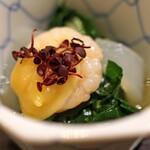 九頭龍蕎麦 - お通し  青菜の柚子味噌和え