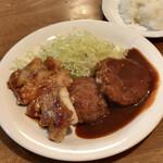 亜樹 - ●B定食¥1230税込 ・ハンバーグ ・ポークソテー ・クリームコロッケ ・カップスープ