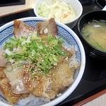 13995342 - 焼味 ねぎ塩豚丼(並)390円+Aセット110円でワンコイン!