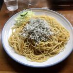 五線紙 - たくわんとしらすのスパゲッティ