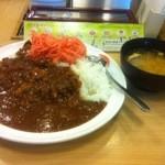 松屋 - カレー大盛り+紅しょうが+みそ汁。
