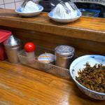 未羅来留亭 - 卓上の様子。丼に辛子高菜。こんな風になってたらつい投入したくなっちゃいますね。