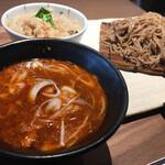 Hanakokitahorie - Bランチ[ピリ辛肉味噌つけざる蕎麦+秋鮭ごはん]